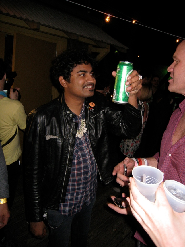 The Legendary King Kahn enjoying a well deserved drink after his performance at Emos Jr.